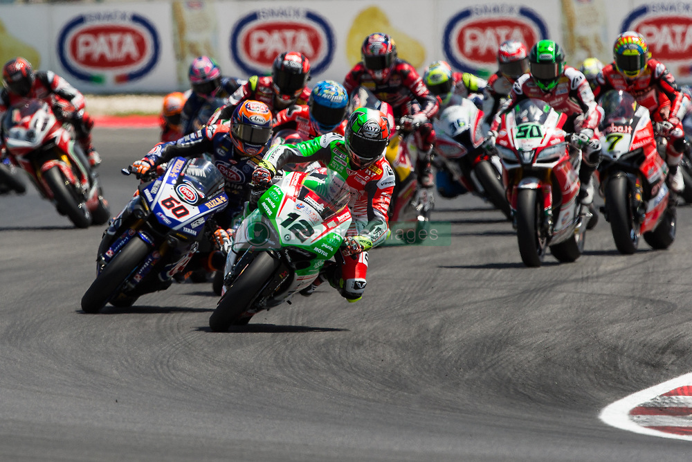 July 8, 2018 - Misano, RN, Italy - Xavi Fores of Barni Racing Team come before Michael Van Der Mark of Pata Yamaha Official WorldSBK Team during the first lap of race 2 of the Motul FIM Superbike Championship, Riviera di Rimini Round, at Misano World Circuit ''Marco Simoncelli'', on July 08, 2018 in Misano, Italy  (Credit Image: © Danilo Di Giovanni/NurPhoto via ZUMA Press)