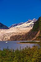 Mendenhall Lake and Mendenhall Glacier, Juneau, Alaska USA.