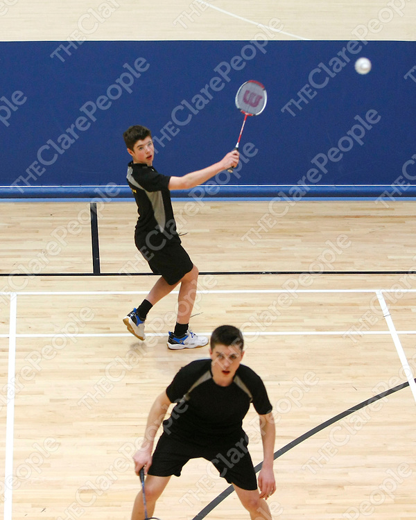 31/03/12<br /> Action from the U15 Badminton where Broadford, Clare took on Moyvane / Knockanure, Kerry at the HSE Community Games Munster Provincial Finals at the University of Limerick on Saturday.<br /> Pic: Don Moloney/Press 22