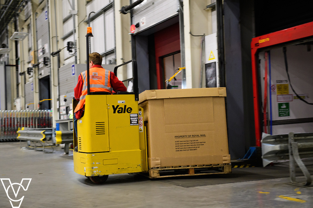 Stock / generic photographs taken at the Royal Mail's Yorkshire Distribution Centre, Normanton.  <br /> <br /> Unloading a CRSC off a lorry<br /> <br /> Picture: Chris Vaughan Photography<br /> Date: November 15, 2016