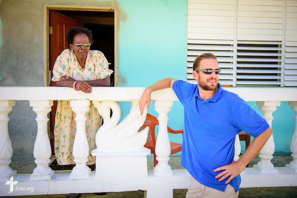 The Rev. Duane Meissner, career missionary to Belize, chats with Ina at her home, one of his regular stops during his walks in the village, on Tuesday, Sept. 27, 2016, in Seine Bight, Belize. Meissner's objective is to plant the first Lutheran churches in the country. LCMS Communications/Erik M. Lunsford