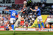 Yann Kermorgant, Michael Morrison and David Davis during the Sky Bet Championship match between Bournemouth and Birmingham City at the Goldsands Stadium, Bournemouth, England on 6 April 2015. Photo by Adam Rivers.