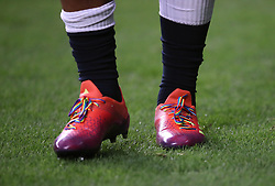 England's Nathan Hughes wears rainbow laces on his boots ahead of the Quilter Autumn International at Twickenham Stadium, London.