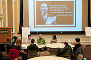 From right to left Brittany Seals, Jim Sand, Stephanie Saunders John Schmieding, Micah Roedinger, Thomas Raymonds, Sarah Koska, Winsome Chunnu-Brayda and George Mauzy discuss race relations during the MLK Jr. Speakout. The event was held in Baker Ballroom and featured an open disscussion of race between the participants. Photo by: Ross Brinkerhoff.