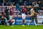 Sean Clare (#8) of Heart of Midlothian FC is shown a red card by referee Alan Muir during the Ladbrokes Scottish Premiership match between Heart of Midlothian FC and Aberdeen FC at Tynecastle Stadium, Edinburgh, Scotland on 29 December 2019.