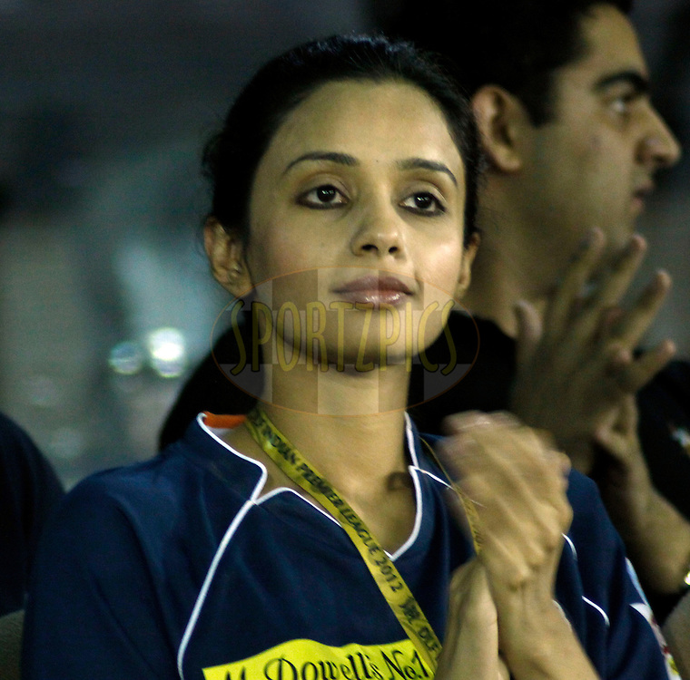 Co Owner of Deccan Chargers Gayatri Reddy during match 61 of the the Indian Premier League ( IPL) 2012  between The Kings X1 Punjab and The Deccan Chargers held at the Punjab Cricket Association Stadium, Mohali on the13th May 2012..Photo by Sandeep Shetty/IPL/SPORTZPICS