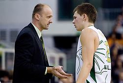 Head coach of Olimpija Jure Zdovc and Jaka Klobucar (8) of Olimpija at Group C of Euroleague basketball match between KK Union Olimpija, Slovenia and Caja Laboral, Spain, on November 5, 2009, in Arena Tivoli, Ljubljana, Slovenia.  (Photo by Vid Ponikvar / Sportida)