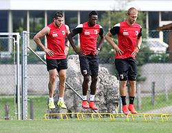 24.07.2015, Sportplatz, Walchsee, AUT, Trainingslager, FC Augsburg, im Bild synchrone Sprünge bei (v.li.) Raul Bobadilla, Abdul Rahman Baba und Ragnar Klavan (FC Augsburg #5) // during the Trainingscamp of German Bundesliga Club FC Augsburg at the Sportplatz in Walchsee, Austria on 2015/07/24. EXPA Pictures © 2015, PhotoCredit: EXPA/ Eibner-Pressefoto/ Krieger<br /> <br /> *****ATTENTION - OUT of GER*****
