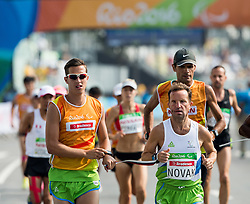 Blind Sandi Novak of Slovenia with guide Urban Jereb at start of the Men's Marathon - T12 Final during Day 11 of the Rio 2016 Summer Paralympics Games on September 18, 2016 in Copacabana beach, Rio de Janeiro, Brazil. Photo by Vid Ponikvar / Sportida