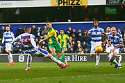 West Bromwich Albion defender Kieran Gibbs (3) shoots at goal during the EFL Sky Bet Championship match between Queens Park Rangers and West Bromwich Albion at the Loftus Road Stadium, London, England on 19 February 2019.
