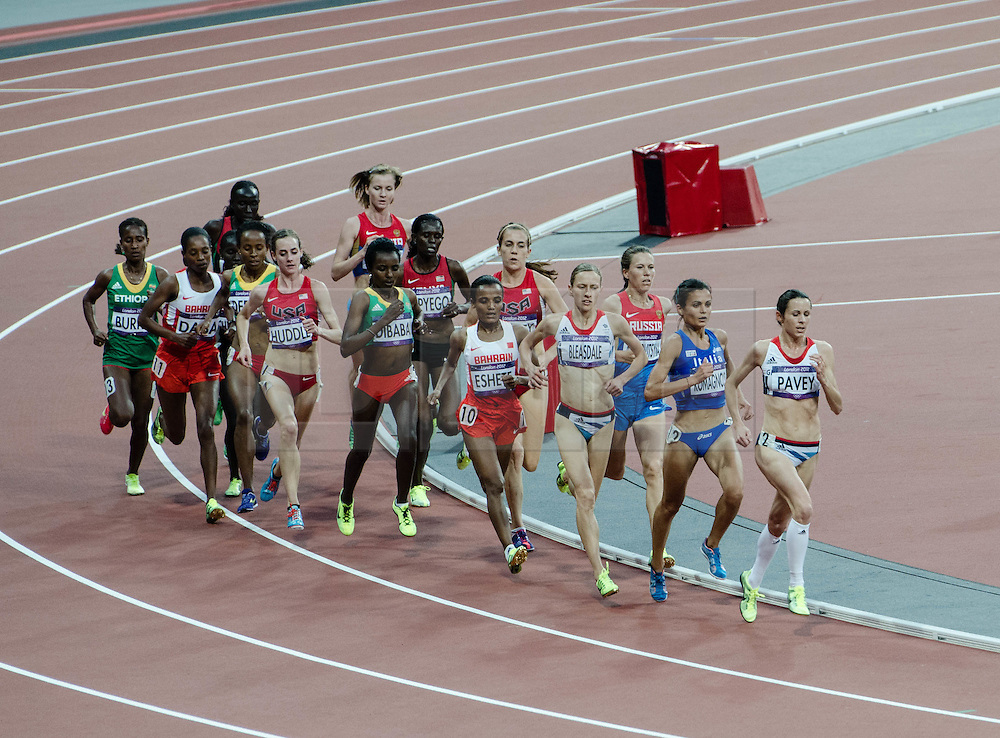 © Licensed to London News Pictures. 10/08/2012. London, UK.  The Women's 5000m final at the Olympics London 2012. Team GB athlete leads Jo Pavey regains the lead from Italian Elena Romagnolo.  Photo credit : Richard Isaac/LNP