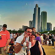 Crowd enjoying at Lollapaloosa Music Festival. Chicago, Illinois.