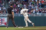 Trevor Plouffe #24 of the Minnesota Twins rounds the bases after hitting a home run against the Detroit Tigers on June 15, 2013 at Target Field in Minneapolis, Minnesota.  The Twins defeated the Tigers 6 to 3.  Photo: Ben Krause