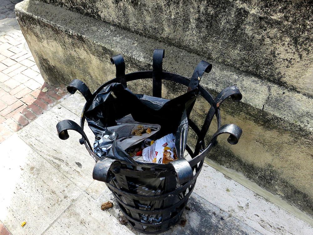 wrought iron trash container, Zona Colonial, Santo Domingo, Dominican Republic