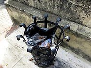 wrought iron trash container, Zona Colonial, Santo Domingo, Dominican Republic