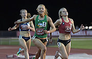 May 2, 2019; Stanford, CA, USA; Jessica Hull (167) of Oregon defeats Karissa Schweizer (328) of Nike/Bowerman Track Club to win the women's 1,500m, 4:12.08 to 4:12.10, during the 24th Payton Jordan Invitational at Cobb Track & Angell Field.