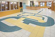 ©2012 John Muggenborg / muggphoto Terrazzo and tile artwork by W. Scott Trimble within the New Settlement Community Center in the Bronx, New York City.