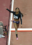 Mar 4, 2017; Albuquerque, NM, USA: Tara Davis of Agoura High places fifth in the women's long jump at 20-0 1/2 (6.10m) during the USA Indoor Championships at Albuquerque Convention Center.