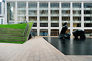 """Henry Moore's """"Reclining Figure"""" sculpture at Lincoln Center"""