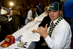 "Photo by Eugene Tanner..Manti Te'o flashes the ""shaka"" sign after signing his letter of Intent to attend and play football for Notre Dame. Te'o narrowed it down to three schools. University of Southern California and UCLA. But it was the Fighting Irish that won Manti Te'o prize."