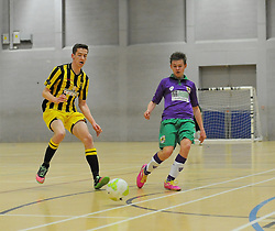 Gloucestershire Futsal  lose possession to BCFC Futsal. - Photo mandatory by-line: Nizaam Jones - Mobile: 07966 386802 - 08/02/2015 - SPORT - Football - Gloucestershire - GL1 Leisure Centre - Gloucestershire Futsal v BCFC Futsal - Futsal