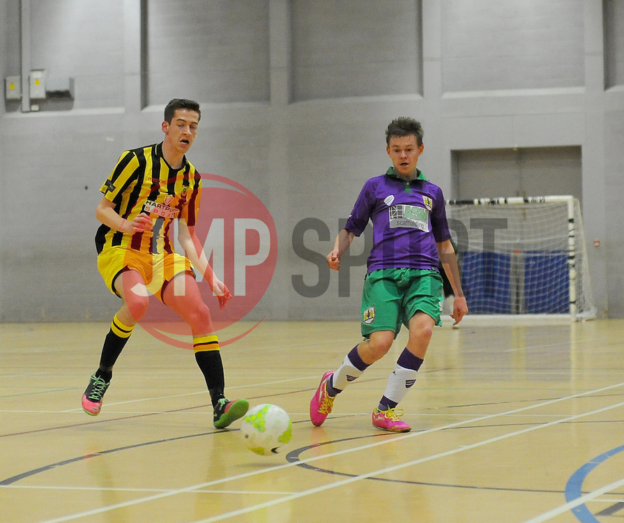 Gloucestershire Futsal  lose possession to BCFC Futsal. - Photo mandatory by-line: Nizaam Jones - Mobile: 07966 386802 - 08/02/2015 - SPORT - Football - Gloucestershire - GL1 Leisure Centre - Gloucestershire Futsal v BCFC Futsal - Futsal
