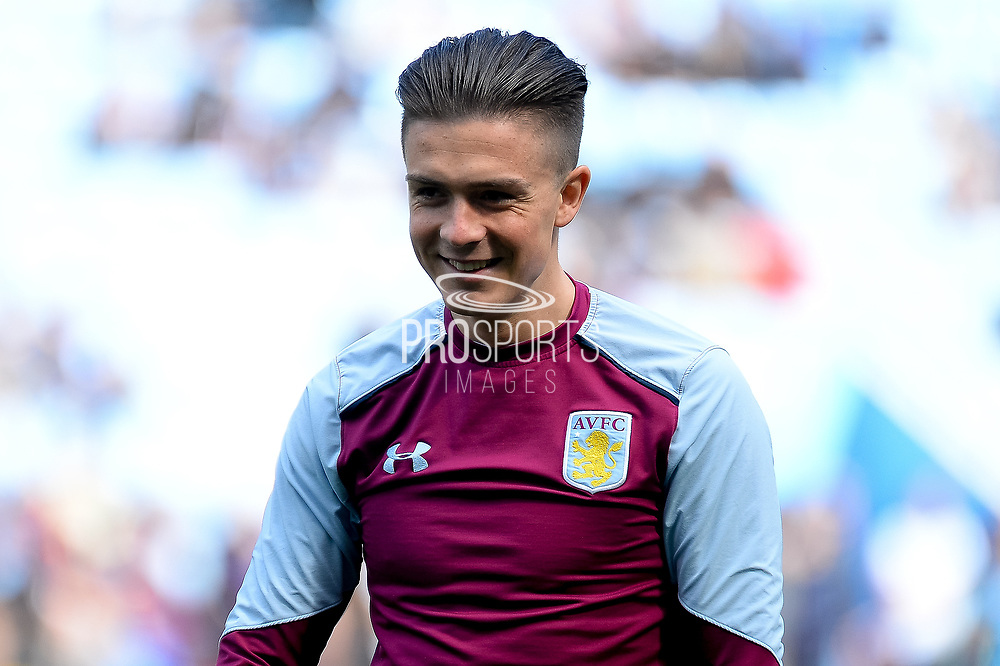 A smiling Aston Villa midfielder Jack Grealish (40) during the EFL Sky Bet Championship match between Aston Villa and Reading at Villa Park, Birmingham, England on 15 April 2017. Photo by Dennis Goodwin.