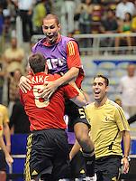 Fussball  International  FIFA  FUTSAL WM 2008   16.10.2008 Halbfinale Spain - Italy Spanien - Italien KIKE (vorne, ESP) und FERNANDAO (ESP) jubeln nach dem Spiel.