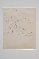 "© Licensed to London News Pictures. 21/03/2014. London, UK. ""I Sat Belonely Down A Tree, Humbled Fat and Small"" (est. GB£6,000-9,000) a drawing by the late Beetles singer John Lennon during the press view for a new sale at Sotheby's auction house in London today (21/03/2014). The auction, entitled ""You Might Well Arsk"", features original drawings and manuscripts by the singer from 1964-1965. Photo credit: Matt Cetti-Roberts/LNP"