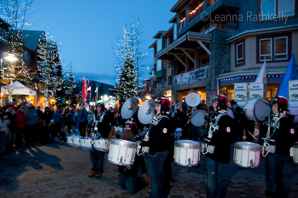 A youth drum band from Sardis, BC entertains crowds during the 2010 Olympic Winter Games in Whistler, BC Canada.