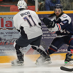 DRYDEN, ON - MAY 2: Jacen Bracko #11 of the Dryden GM Ice Dogs  makes the hit on Austin Whelan #53 of the Cochrane Crunch during Game Four of the Central Canadian Junior Championship during the 2018 Dudley Hewitt Cup on May 2, 2018 at the Dryden Memorial Arena in Dryden, Ontario, Canada. (Photo by Tim Bates/DHC via OJHL Images)