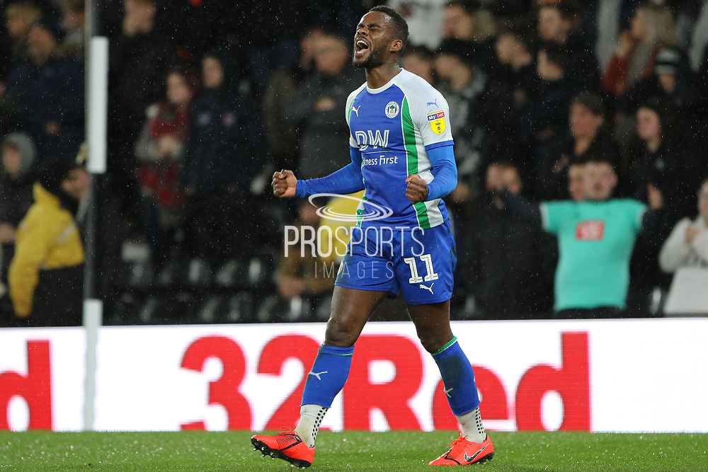 Wigan Athletic forward Gavin Massey celebrates scoring a goal during the EFL Sky Bet Championship match between Derby County and Wigan Athletic at the Pride Park, Derby, England on 5 March 2019.