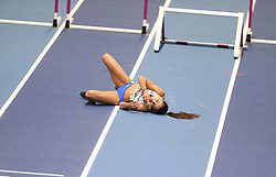 March 2, 2018 - Birmingham, United Kingdom - Elisavet Pesiridou (Greece) lies on the track in pain after falling hard during the IAAF World Indoor Championships women's 60m hurdles. (Credit Image: © Hurdles-14.jpg/SOPA Images via ZUMA Wire)