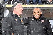 Barnsley FC manager Jose Morais and Hull City manager Nigel Adkins during the EFL Sky Bet Championship match between Hull City and Barnsley at the KCOM Stadium, Kingston upon Hull, England on 27 February 2018. Picture by Ian Lyall.