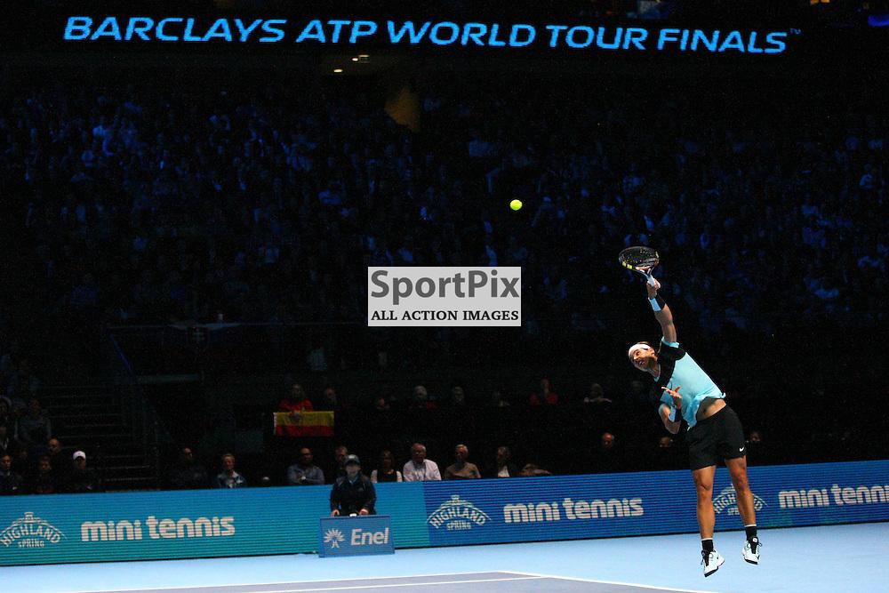 Rafael Nadal serving. ATP Finals 2015 at O2 Arena, London. Stanislas Wawrinka plays Rafael Nadal in their first match in the Group Ilie Nastase. 16th November 2015. (c) Matt Bristow   SportPix.org.uk