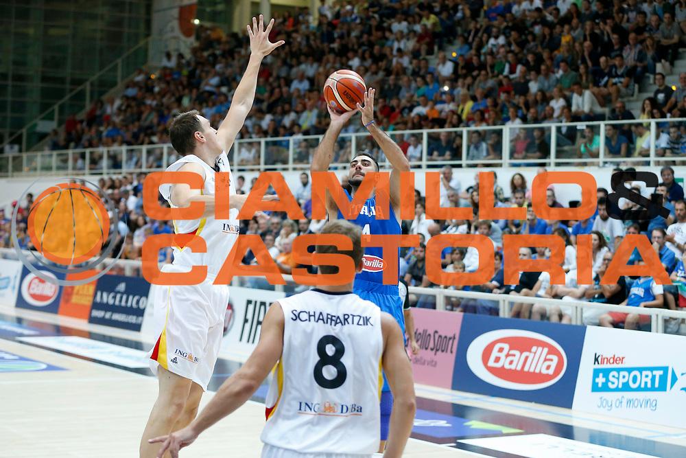 DESCRIZIONE : Trento Nazionale Italia Uomini Trentino Basket Cup Italia Italy Germania Germany<br /> GIOCATORE : Pietro Aradori<br /> CATEGORIA : Tiro<br /> SQUADRA : Italia Italy<br /> EVENTO : Trentino Basket Cup<br /> GARA : Italia Germania Italy Germany<br /> DATA : 01/08/2015<br /> SPORT : Pallacanestro<br /> AUTORE : Agenzia Ciamillo-Castoria/G.Contessa<br /> Galleria : FIP Nazionali 2015<br /> Fotonotizia : Trento Nazionale Italia Uomini Trentino Basket Cup Italia Germania
