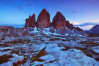 Mountain impression Tre Cime - Europe, Italy, South Tyrol, Sexten Dolomites, Tre Cime - Dusk - July 2009 - Mission Dolomites Tre Cime