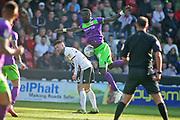 Sheffield Utd midfielder Chris Basham and Bristol City forward Famara Diedhiou (9) get in a tangle  during the EFL Sky Bet Championship match between Sheffield United and Bristol City at Bramall Lane, Sheffield, England on 30 March 2019.