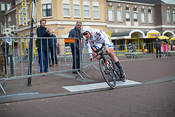 Ellen van Dijk (NED) of Team Sunweb tackles the final corner of Stage 1a of the Healthy Ageing Tour - a 16.9 km time trial, starting and finishing in Leek on April 5, 2017, in Groeningen, Netherlands.