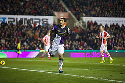 STOKE-ON-TRENT, ENGLAND - Sunday, January 12, 2014: Liverpool's Luis Suarez celebrates scoring the second goal against Stoke City during the Premiership match at the Britannia Stadium. (Pic by David Rawcliffe/Propaganda)