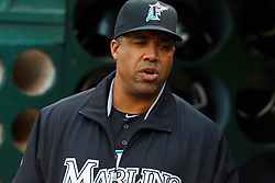 June 28, 2011; Oakland, CA, USA; Florida Marlins batting coach Eduardo Perez (30) stands in the dugout before the game against the Oakland Athletics at the O.co Coliseum.  Oakland defeated Florida 1-0.