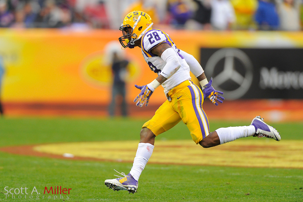 LSU Tigers  cornerback Jalen Mills (28) during LSU's 21-14 win over the Iowa Hawkeyes in the 2014 Outback Bowl at Raymond James Stadium on Jan 1, 2014  in Tampa, Florida. ©2014 Scott A. Miller