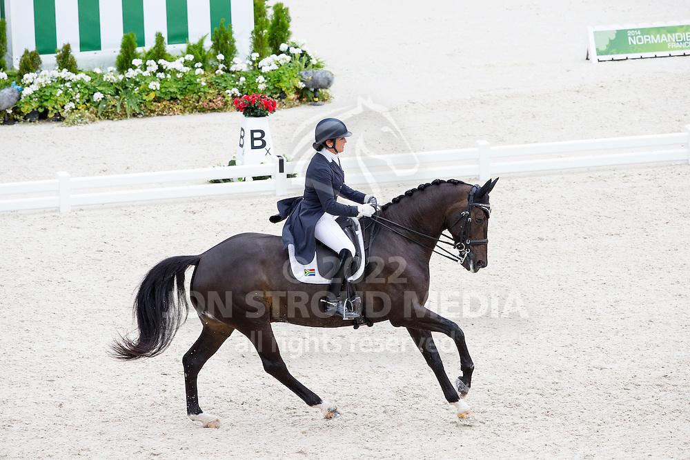 Denise Hallion, (RSA), Wervelwind - Grand Prix Team Competition Dressage - Alltech FEI World Equestrian Games&trade; 2014 - Normandy, France.<br /> &copy; Hippo Foto Team - Leanjo de Koster<br /> 25/06/14