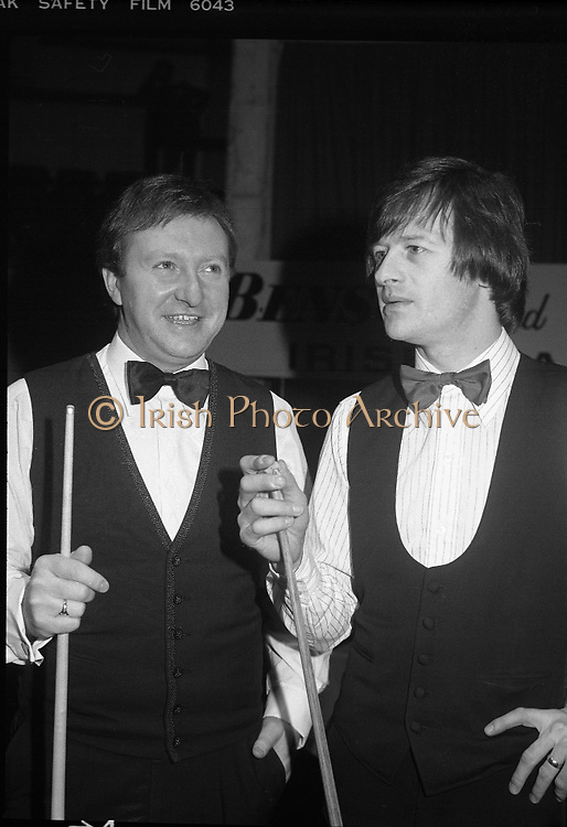 1980-05-01.1st May 1980.01-05-1980.05-01-80..Photographed at Goffs, Kill, Co Kildare..On Cue:..From left to right..Denis Taylor.Alex Higgins..At the Benson and Hedges Irish Masters Snooker Competition.