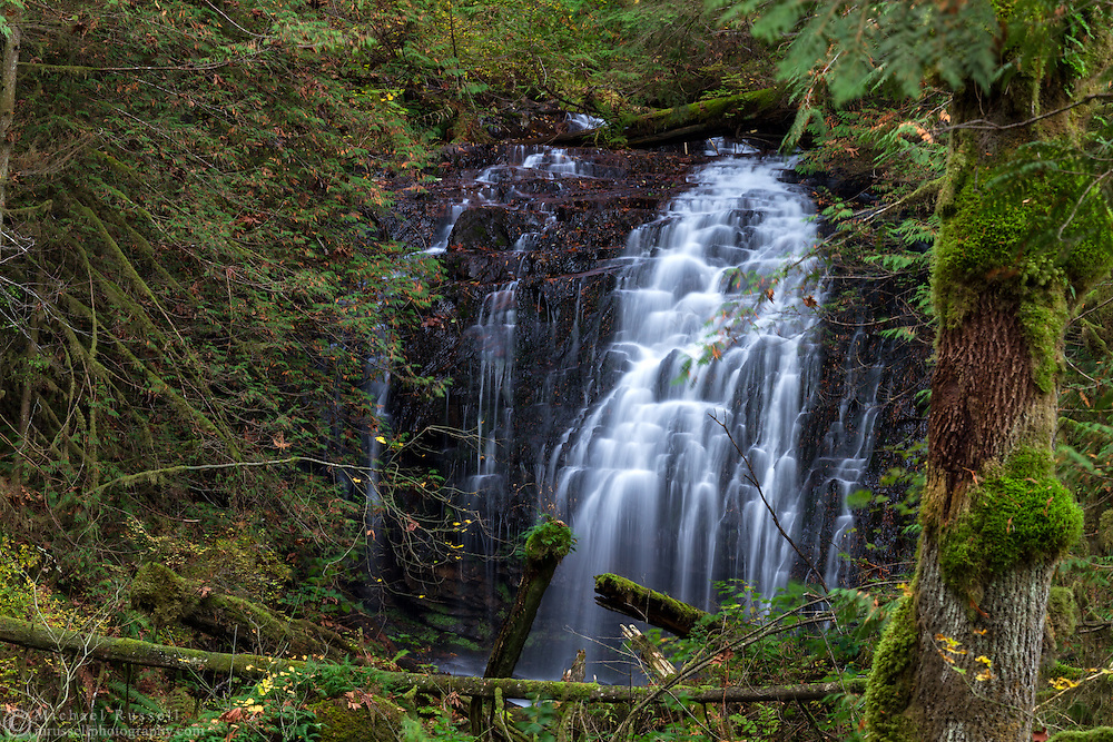 An unnamed waterfall in Sasquatch Provincial Park, British Columbia, Canada.  This waterfall can be found along the road into Sasquatch Provincial Park between Trout Lake and the turnoff for Hicks Lake.