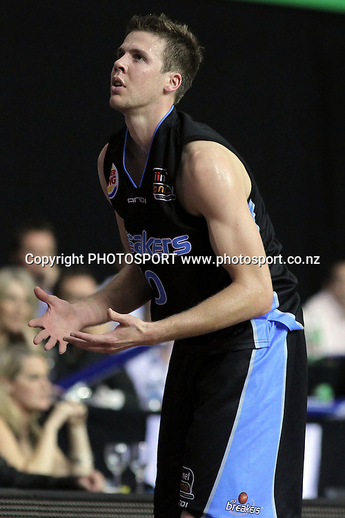 Breakers' Tom Abercrombie reacts. iinet ANBL, Semi-Finals Game 1, New Zealand Breakers vs Perth Wildcats, North Shore Events Centre, Auckland, New Zealand. Thursday 7th April 2011. Photo: Anthony Au-Yeung / photosport.co.nz