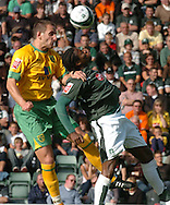 Plymouth -Saturday September 13th 2008:Emile Mpenza of Plymouth Argyle and John Kennedy of Norwich City during the Coca Cola Championship match at Plymouth.(Pic by Tony Carney/Focus Images)