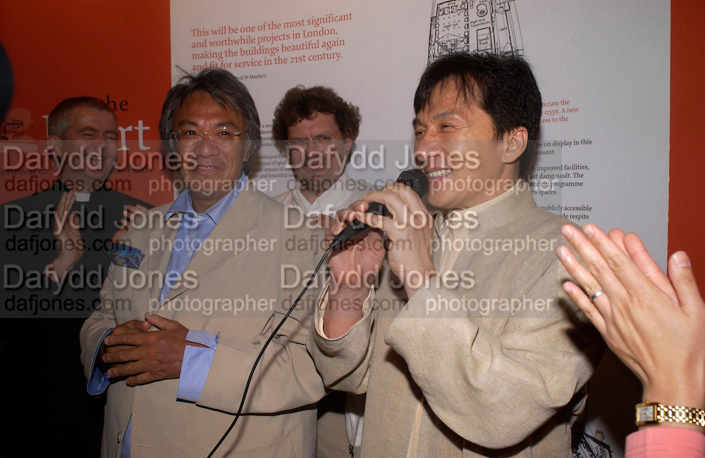 L to R. Rev. Nicholas Holtan, David Tang, Eric Parry and Jackie Chan, Jackie Chan visits St. Martin-in-the-fields as a guest of David Tang to lend support to raise money for the renewal of the church and  chinese People's Day Centre. 20 June 2004. ONE TIME USE ONLY - DO NOT ARCHIVE  © Copyright Photograph by Dafydd Jones 66 Stockwell Park Rd. London SW9 0DA Tel 020 7733 0108 www.dafjones.com