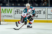 KELOWNA, CANADA - JANUARY 19: Lassi Thomson #2 of the Kelowna Rockets warms up against the Prince Albert Raiders  on January 19, 2019 at Prospera Place in Kelowna, British Columbia, Canada.  (Photo by Marissa Baecker/Shoot the Breeze)