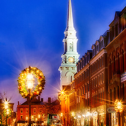 The North Church and Congress Street on a rain December morning in Portsmouth, New Hampshire.
